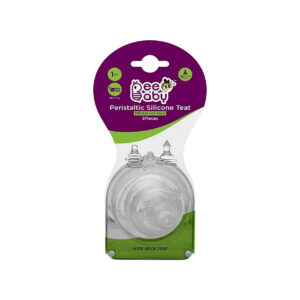 Beebaby Peristaltic Soft Silicone Wide Neck Nipple with Carry Case Fast Flow (Pack of 2)