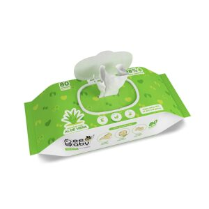 BeeBaby Fresh Aloe Vera Baby Wet Wipes with Plastic Lid – 3 Pack of 80 Pieces