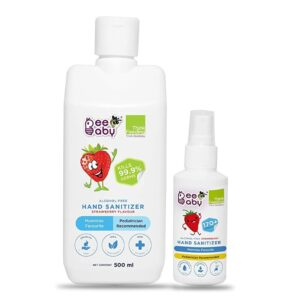BeeBaby Alcohol-Free Foaming Hand Sanitizer, Strawberry Flavour, Combo Pack of 2 (500ML + 70ML), FDA Approved