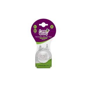 Beebaby Peristaltic Soft Silicone Standard Neck Nipple with Carry Case Fast Flow (Pack of 2).